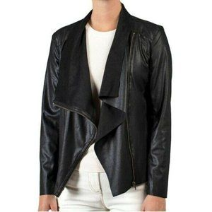 NWT Mote M Faux Suede Moto Draped Jacket in Black